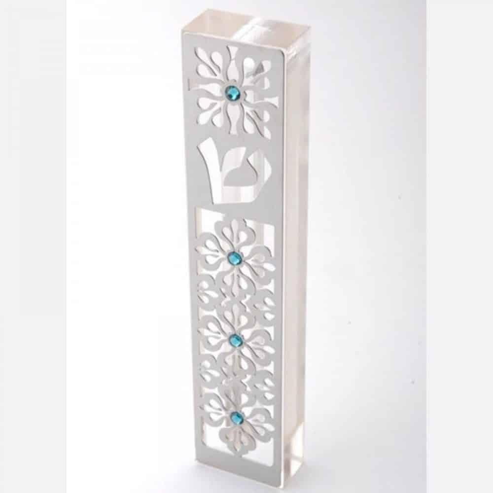 בית מזוזה מנירוסטה בשיבוץ אבני סוורובסקי דגם MZN-10-– armonhasofer ערמון הסופר בעיצוב דורית יודאיקה