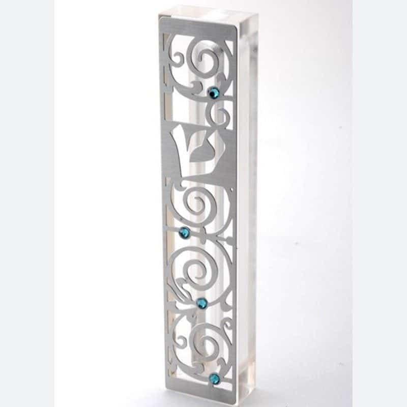 בית מזוזה מנירוסטה בשיבוץ אבני סוורובסקי דגם MZN-9-– armonhasofer ערמון הסופר בעיצוב דורית יודאיקה